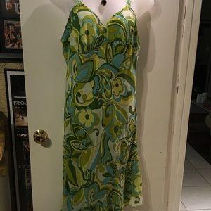 Mlle Gabrielle 14w green multi sexy chiffon dress